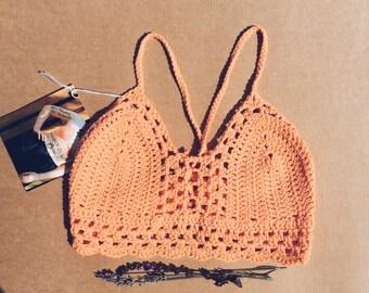 peachy crop top *vegan* halter top crochet handmade