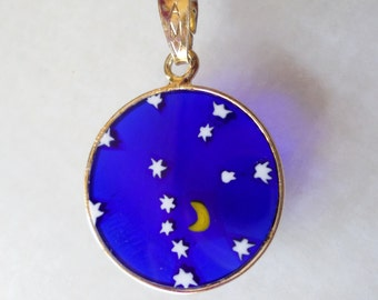 Sterling Silver Vermeil 925 Stamped, AMV Signed, Artistic Murano Glass Pendant.