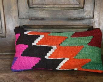 60x30cm-24 x12 inc Turkish  Kilim Pillow, , unique, . The reverse is cotton with a hidden zipper.