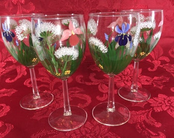 Wine Glasses 4pc Hand Painted