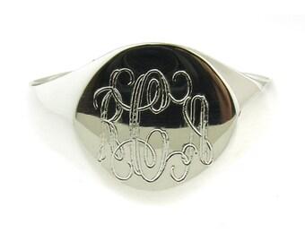 925 Sterling Silver Signet Monogram Ring