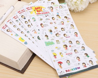 Day & Day Cartoon Girl Stickers (6 sheets) / Cute Planner Stickers / Kawaii Planner Stickers / Cute Stickers / Kawaii Stickers / Stationery