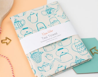 Scattered Teapots Tea Towel