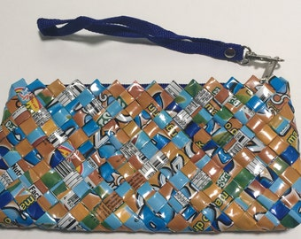 Recycled juice box clutch purse with zipper and handle