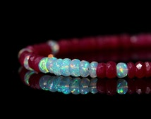 Genuine Ruby and Opal Bracelet, Natural AAA Ethiopian Opal & Red Ruby Jewelry, Sterling Silver Clasp, July October Birthstone, Gift for Her