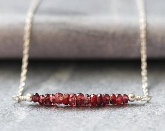 Madagascar Ruby Necklace, Genuine Natural Red Ruby, 925 Sterling Silver, Minimal Gemstone Bar, July Birthstone Jewelry, Bridesmaid Gift