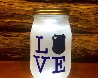 Police LOVE LED light. Custom Police Officer mason jar, Law Enforcement night light, personalized Police Officer Gift, Police Family Gift