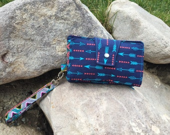 Navy Arrows wristlet/ Cell phone wallet