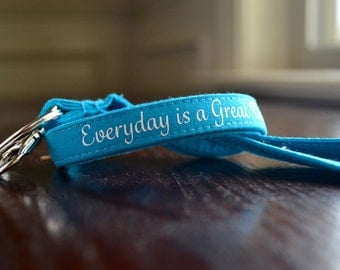 Custom Personalized Lanyard - Turquoise, Six Font Choices - Perfect Athlete, Coach, Teacher Gift
