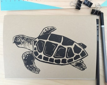 Turtle Sketch Book. Hand Printed Sketching Book. Sea Turtle Notebook. A5 Artists Sketch book. kraft Sketchbook. Lino Print jotter