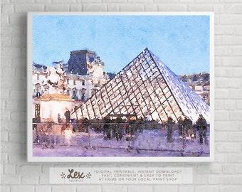 France, Paris, The Louvre - Aquarelle Watercolor Painting Digital Wall Art Instant Download