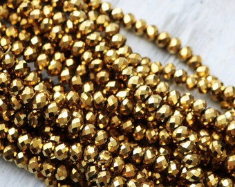 6x8mm Full Strand Metallic Gold Glass Beads Rondelle Jewelry Beads Sparkling Glass Lead Free AB025A