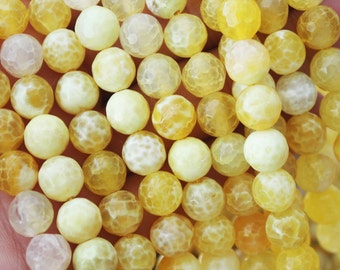 8mm Yellow Fire Agate Faceted Round Beads Jewelry Supply