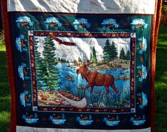 COZY lap quilt, blanket realtree moose goose, duck, bear