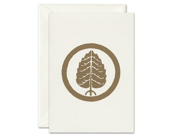 Greeting card holy tree gold