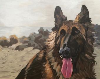 Custom pet portrait. Acrylic painting on canvas from your photo. Custom animal painting.