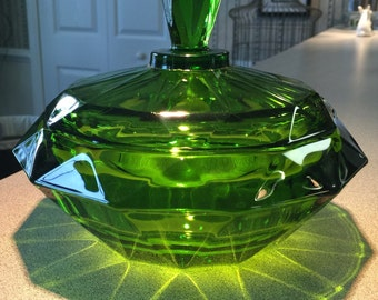 Heavy Green Vintage Viking Glass Candy Dish With Lid