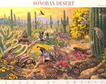 10 x Sonoran Desert Stamps - UNused 33 cents - Cactus - California - Arizona - US Postage Stamps - invites, scrapbooking, postcrossing, art