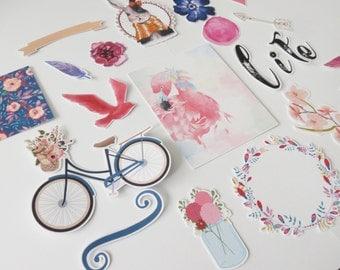 iArtisans Life Ephemera Pack - Bicycle Ephemera - Flamingo Ephemera - Card Stock Ephemera - Die Cuts - Planner Ephemera
