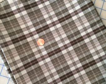 Brown, Cream & Olive green plaid fabric, 2 yards