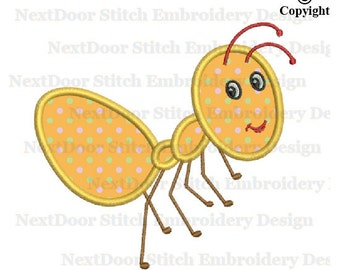 Ant embroidery design, insects machine embroidery applique download, ant-001