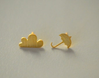 Rainy Day Earrings, Umbrella Earrings, Cloud Earrings, Gold umbrella earrings, minimalist earrings, cloud stud earrings, rain stud earrings