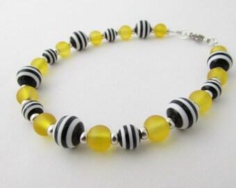 Yellow, Black & White Striped Bracelet