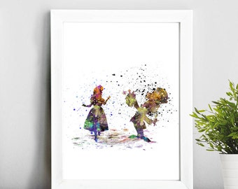 Alice and Mad Hatter Disney, Watercolor Print  Print Children's Wall Art Home Decor Wall Hanging