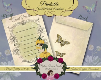 Seed Packet Envelope~Buttercup Flower Child Fairy~ DIGITAL DOWNLOAD PRINTABLE