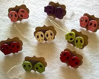 Small Sugar Skull Earrings