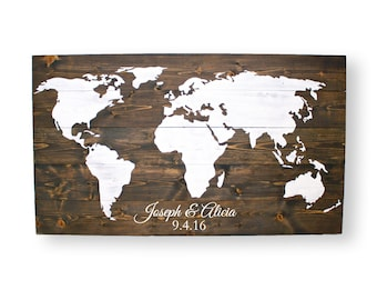 Wedding Guest Book- Wood Guest Book- Travel Map- Rustic Wedding Guest Book- World Map Wall Art- Travel Home Decor
