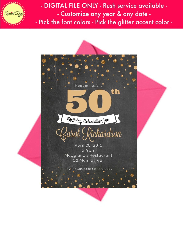 50th Birthday Invitation For Men 50 Birthday Invitation