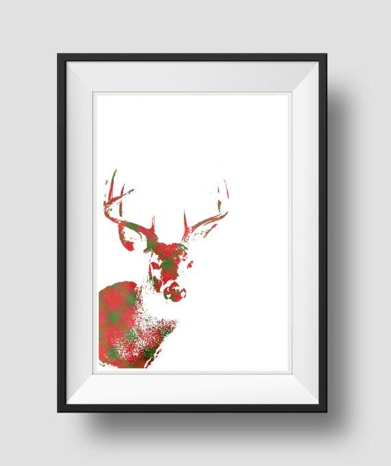 Christmas Wall Decor Printables : Items similar to deer print holiday decor christmas