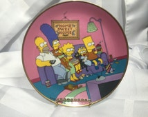 """The Simpons's """"Family for the 90's"""" Collector Plate. Franklin Mint. N9165 plate no by Matt Groening. Limited Edition. Home sweet home 1991"""