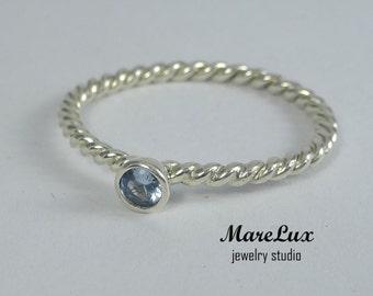 Rope 3 mm Aquamarine Stackable Silver Ring, Light Blue Synthetic Aquamarine Stackable Ring Sterling Braided Aquamarine Engagement Ring