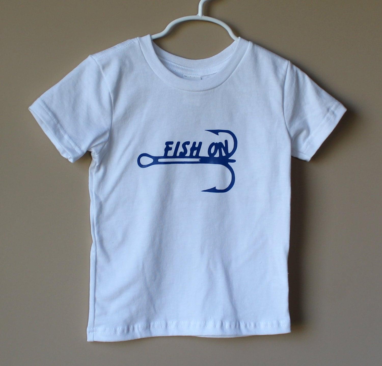 Fish on toddler t shirt fishing shirt toddler shirt by danlers for Toddler fishing shirts