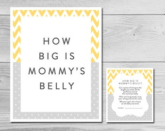 Chevron Yellow and Grey Baby Shower Game - How Big is Mommy's Belly? - Instant Download Printable - Gender Neutral