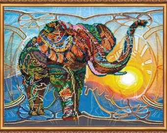 Elephant Feng Shui Beadwork set Set for embroidery with beads Embroidery beading  DIY Gift for her Gift to Holidays 17'' x 13''