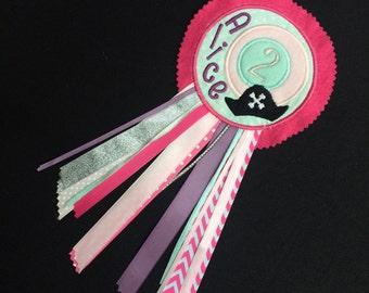 THEMED Personalised Birthday Rosette Badge * Pirate Unicorn Dragon Football Ballet Mermaid Fairy Princess Train * 100% Customised *