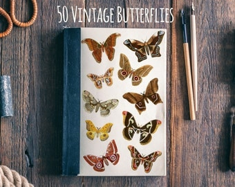 Fifty Vintage Butterlies - Instant download Clipart, Clip Art, scrapbooking supply, vintage, commercial use