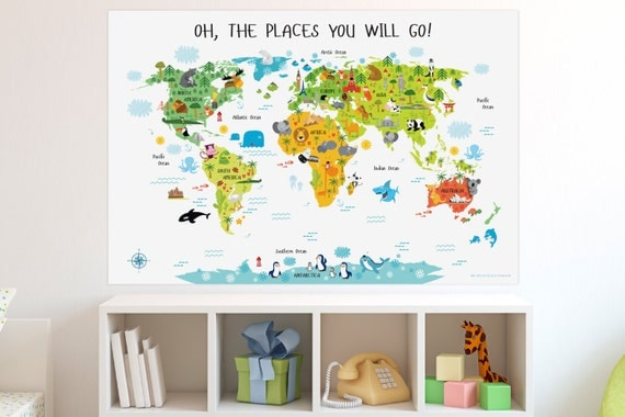 Unique newborn baby gifts australia : Baby gift kids world map poster unique gifts by pictureta