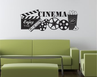 home theater decal etsy. Black Bedroom Furniture Sets. Home Design Ideas