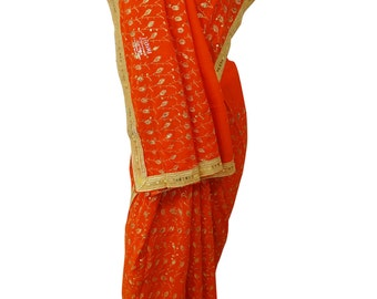 Vintage Saree Indian Traditional Embroiderd Wrap Women Dress Orange Sari Antique Decorative Recycled Georgette Blend Material 5YD SI2787