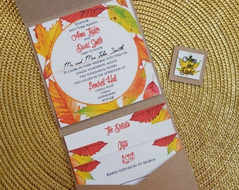 x25 Autumn Leaves Kraft Pocketfold Wedding Invitation. Fully Personalisable