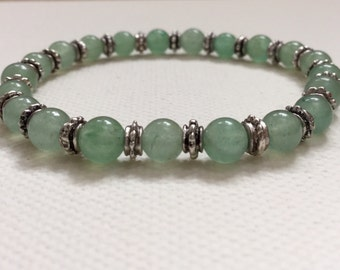 Green Aventurine Bracelet/Beaded Bracelet/Gemstone Bracelet/Gemstone Beads/Eating Disorder Recovery/Support/Get Well/Anorexia/Bulimia