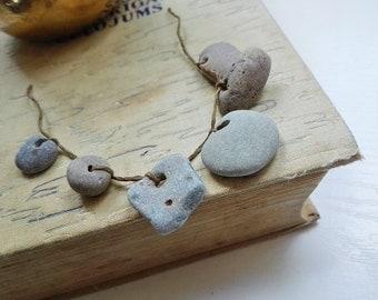 Small hag stone charms Small holey stones Naturally holed beach pebbles 6 pcs