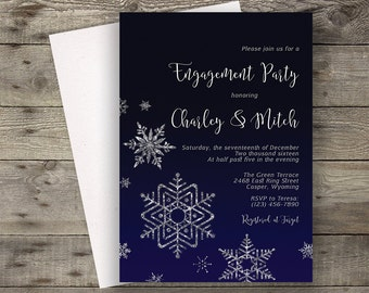 Navy Wedding Invitation, Navy Engagement Invite, Engagement Party Invite, Engagement Dinner, Calligraphy Invite