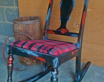 Hand-Painted, Distressed & Reupholstered Accent Side/Porch Rocking Chair. Rustic, Country, Primitive, Shabby Chic, Plaid.