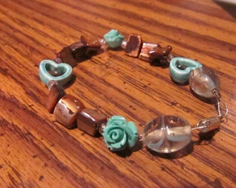Beaded Brown Bracelet with Turquoise Roses and Hearts