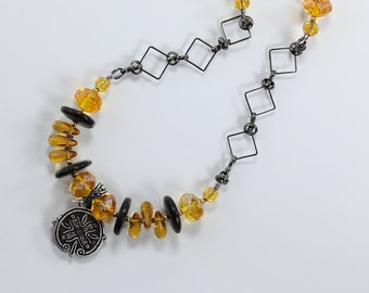 Black and Gold Necklace, Glass and Wood Necklace, Amber, Wood & Gunmetal Necklace